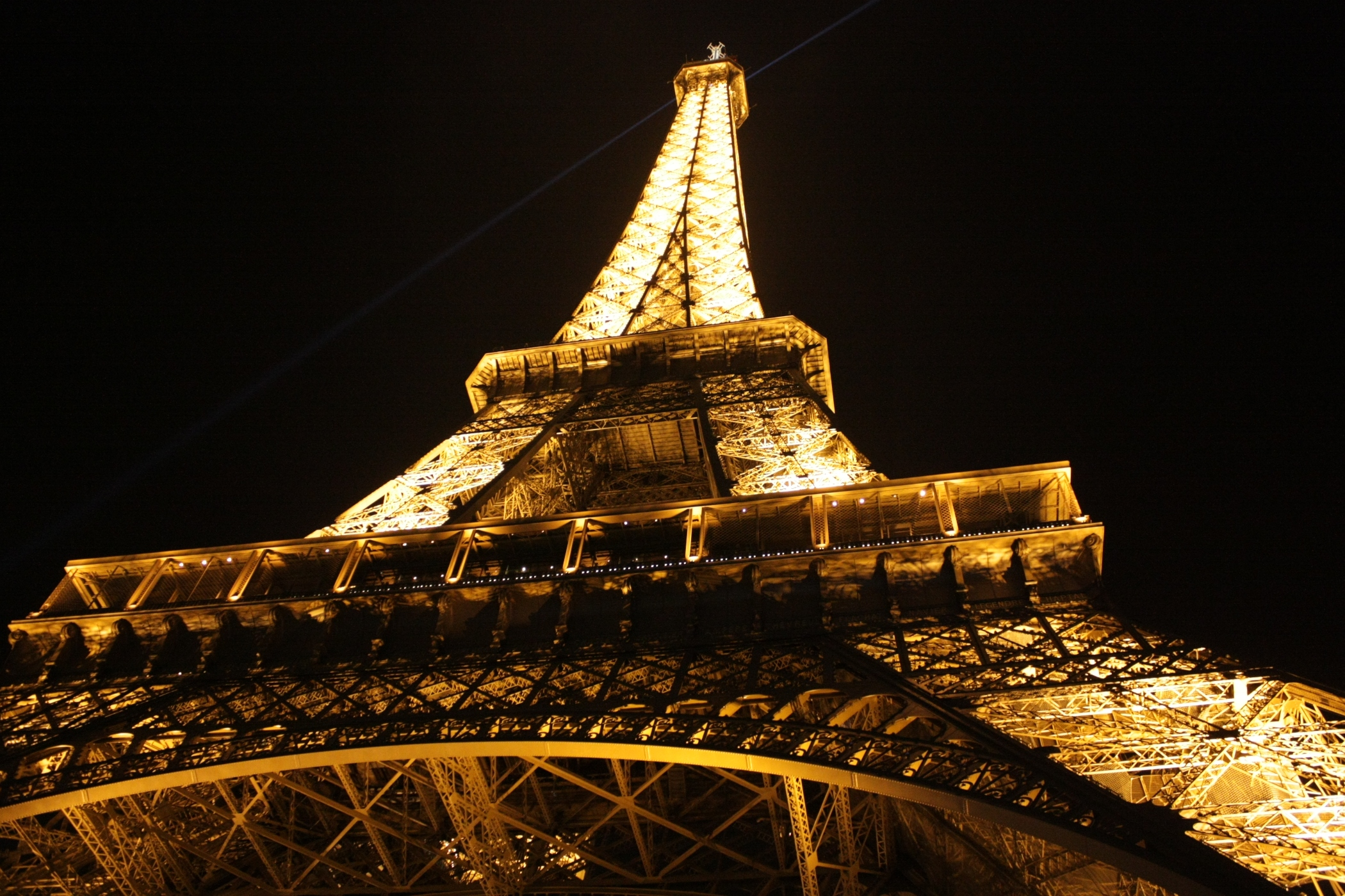 Eiffel Tower at night with lights