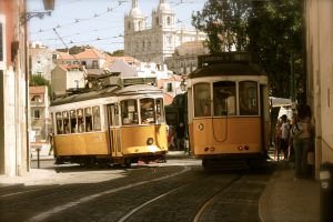 Trams meeting on the curb