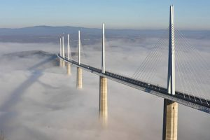 Millau Viaduct over the clouds.